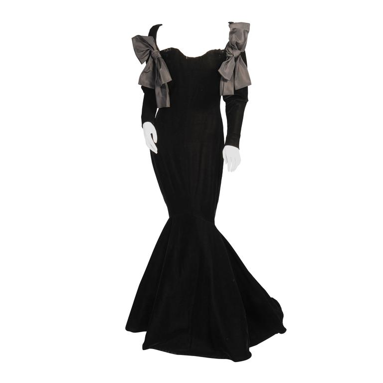 Yves Saint Laurent Haute Couture Black Silk Velvet Mermaid Gown 1