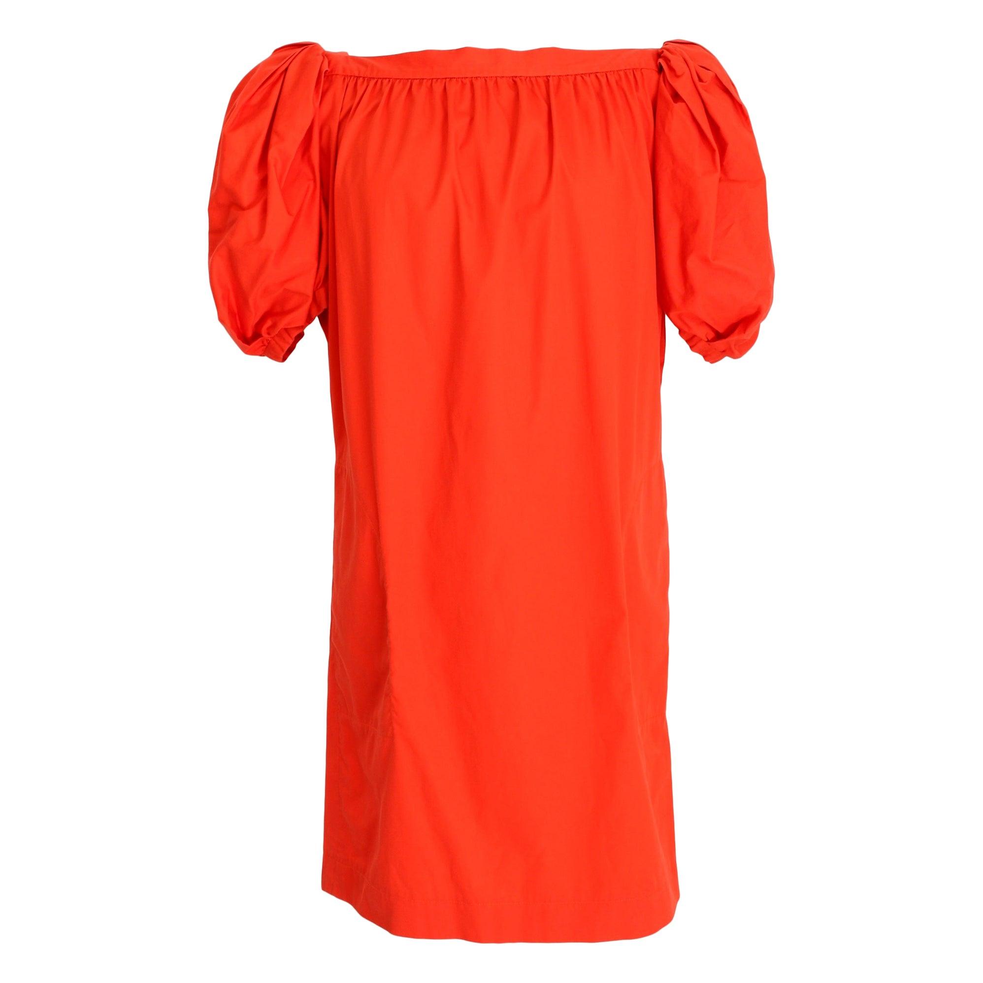 Yves Saint Laurent Rive Gauche Red Cotton Straight Cocktail Dress 1980s