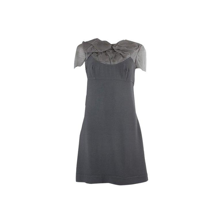 PRADA grey SHEER DRAPED Short Sleeve Cocktail Dress 42