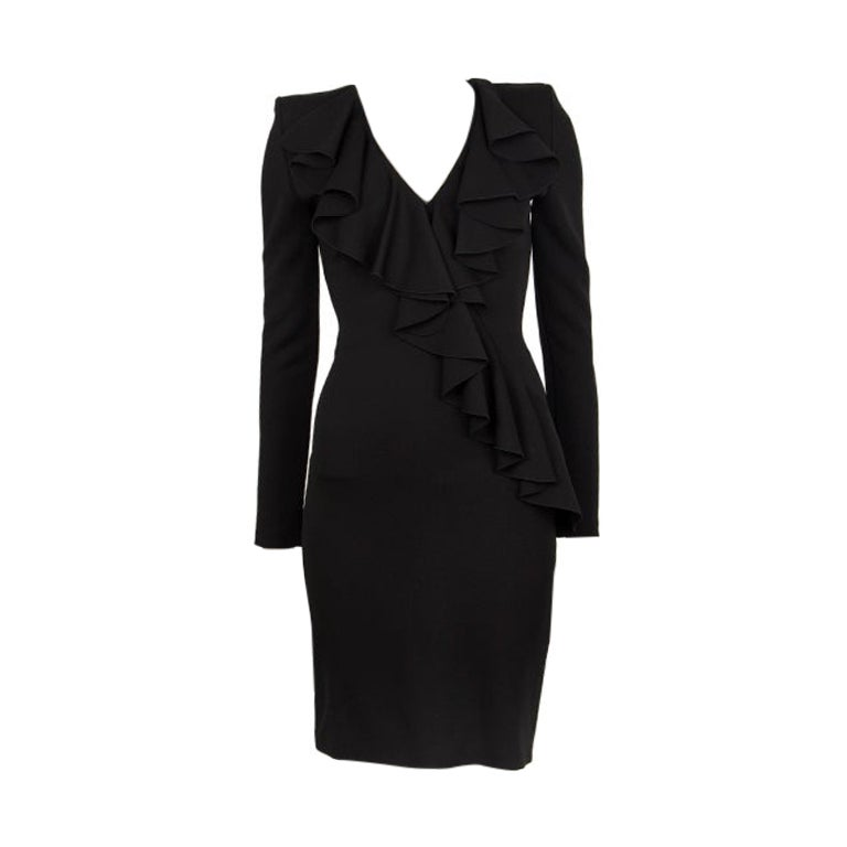BALMAIN black RUFFLED Long Sleeve Cocktail Dress 36