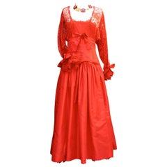 Fall 1980 Nina Ricci Haute Boutique Red Taffeta and Lace Evening Dress