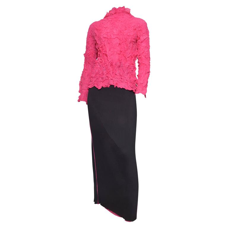 Issey Miyake Crinkled Hot Pink Blouse w Black Pleated Skirt Set
