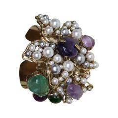 Philippe Ferrandis Glass Pearl and Semi-Precious Cuff Bracelet