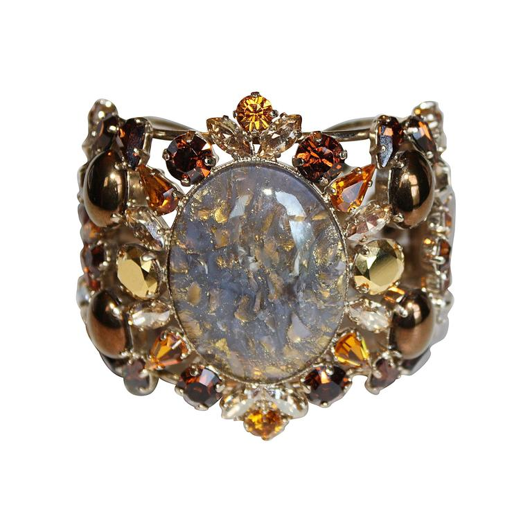 Philippe Ferrandis Amber Glass and Crystal Cuff Bracelet For Sale