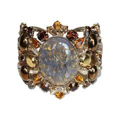 Philippe Ferrandis Amber Glass and Crystal Cuff Bracelet