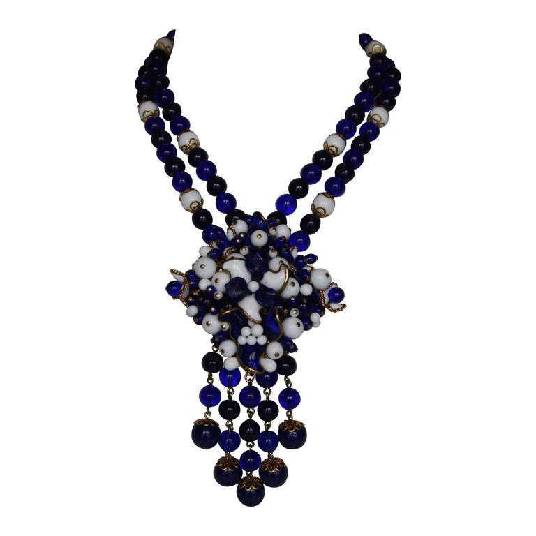 Francoise Montague Pate de Verre Navy and White Benny Necklace 1