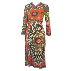 1960s Emilio Pucci Silk Jersey Print Dress