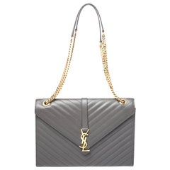 Saint Laurent Grey Matelasse Leather Large Cassandre Flap Bag