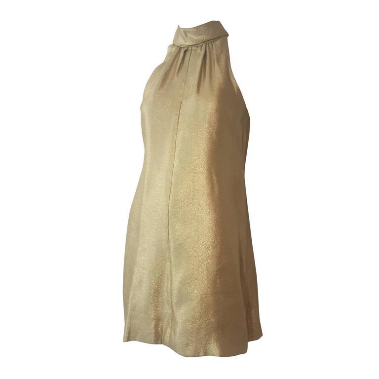 1960s Lame Trapeze Mini Dress 1