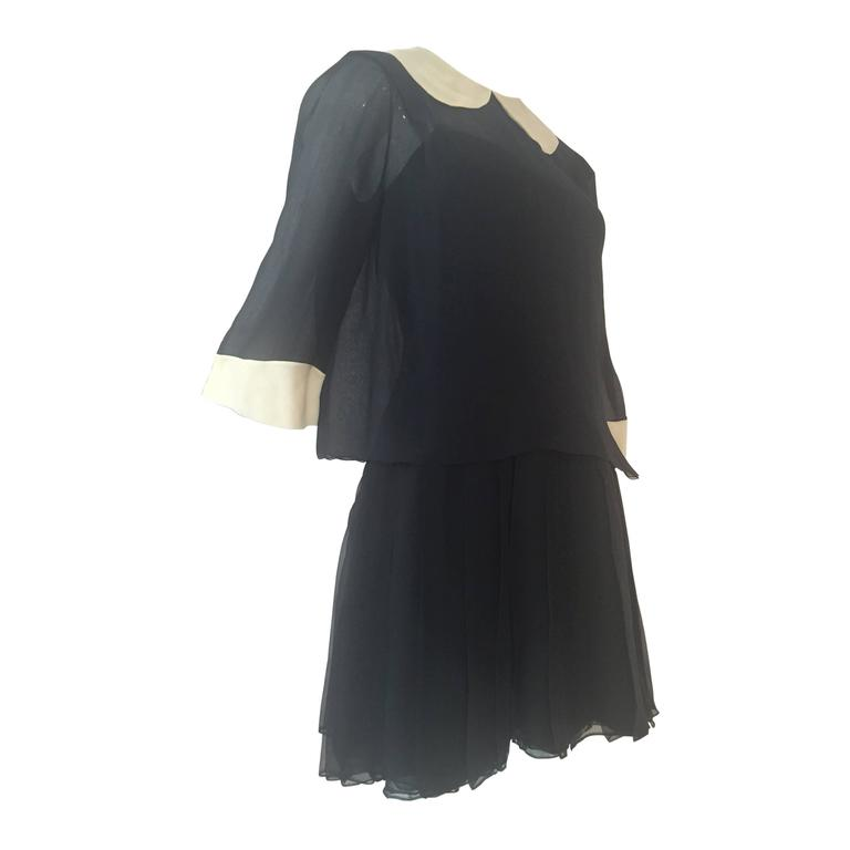 1960s Galanos 2-Piece Black Silk Chiffon Mini Dress with White Collar and Cuff