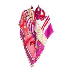 Hermes Carre en Carres Cashmere Silk Shawl Scarf Pink Purple GM Gorgeous