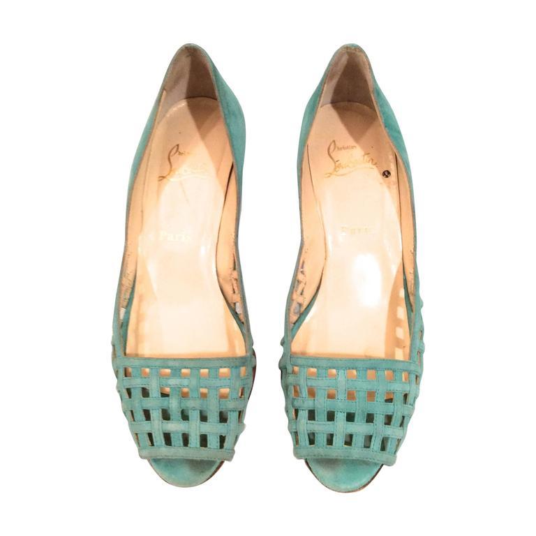 Christian Louboutin Shoes - Size 38 - Aqua Suede Open Toe Kitten Heel 1
