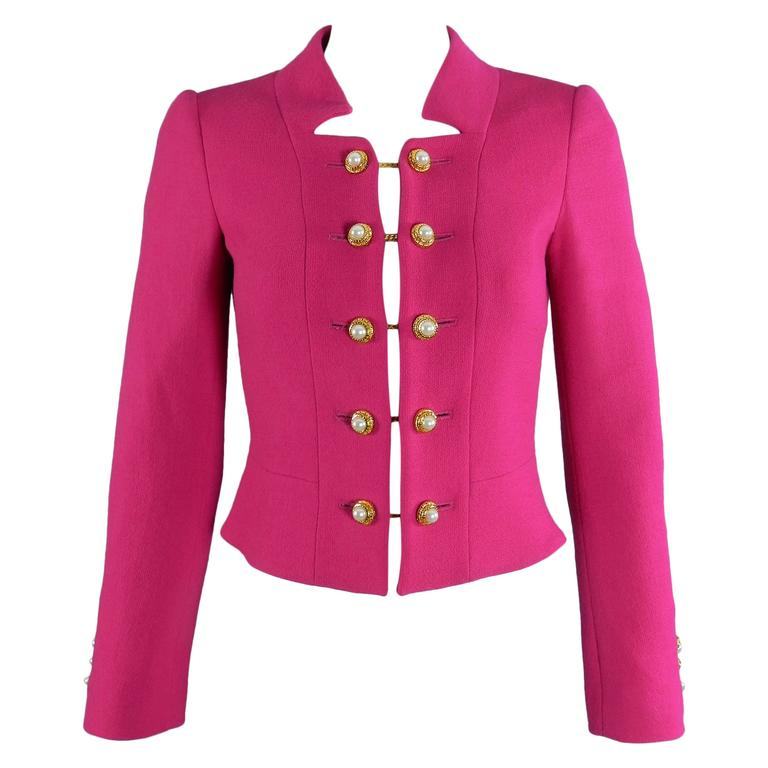 Moschino Hot Fuchsia Pink Jacket with Gold and Pearl Toggles 1
