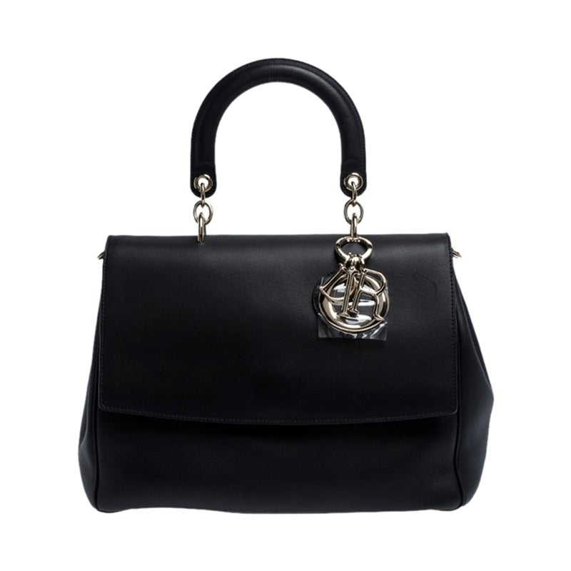 Dior Black Leather Large Be Dior Flap Top Handle Bag