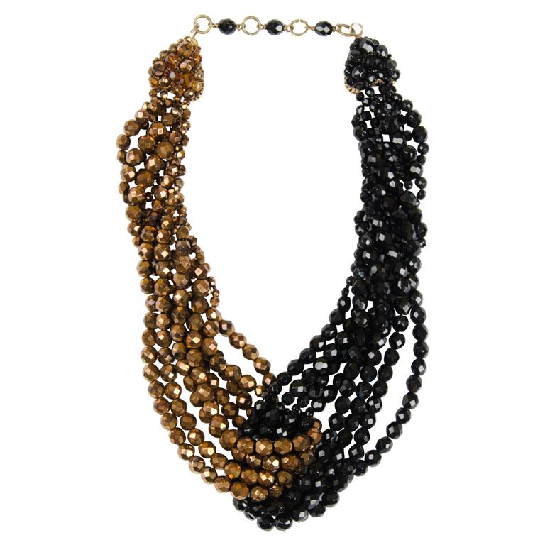 Coppola e Toppo half crystal bead intertwined necklace 1960s