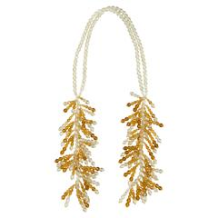 Coppola e Toppo for Christian Dior  half crystal waterfall necklace 1950s