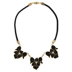 Henri de la Pensee black suede and gilt floral necklace 1930s