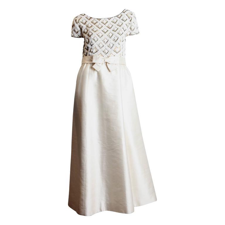 Cream 1960s Beaded Gown