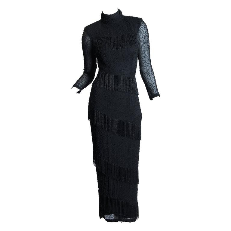 1980s Sheer Beaded Fringe Gown by Bob Mackie