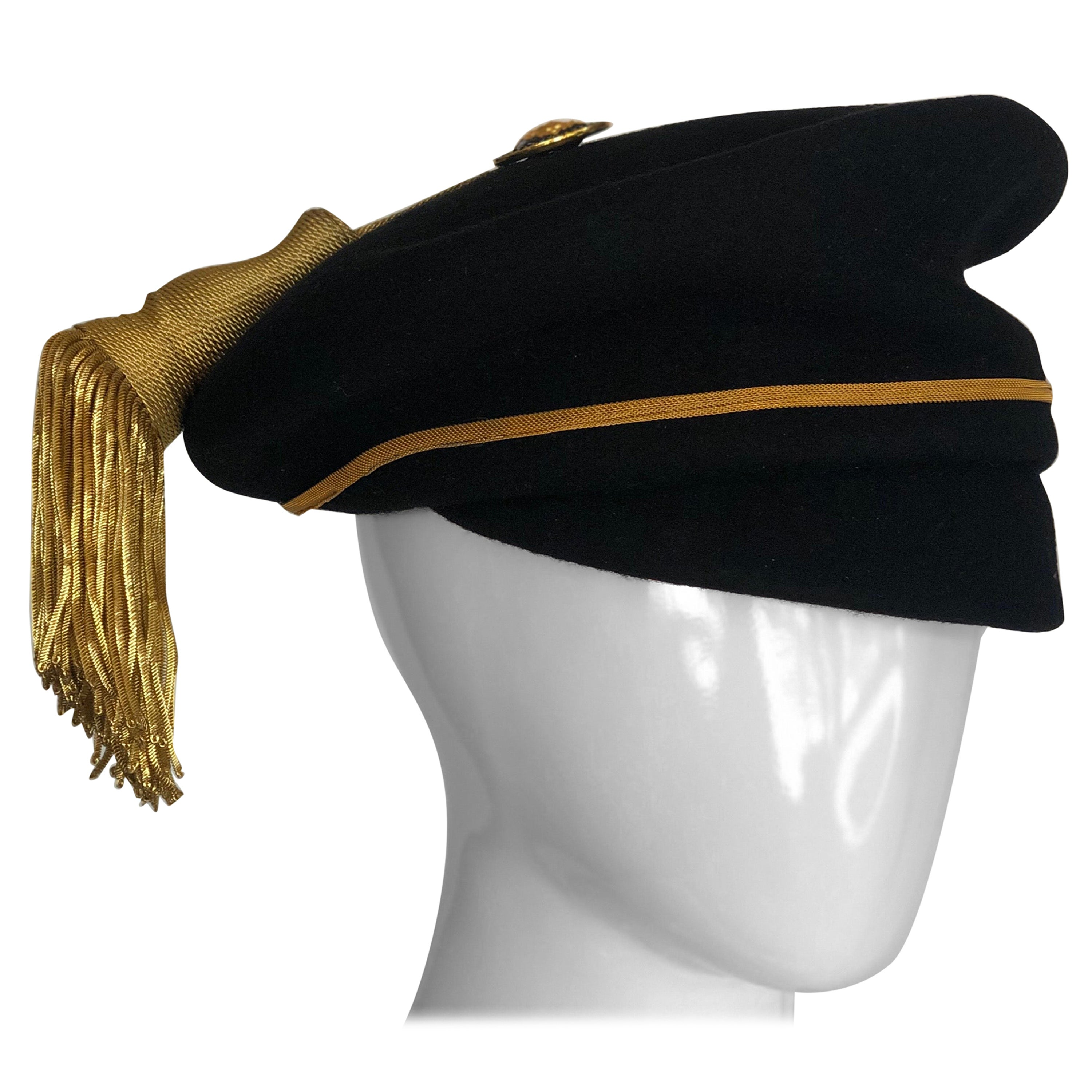 Gianni Versace Felt Hat with Gold Threaded Tassel