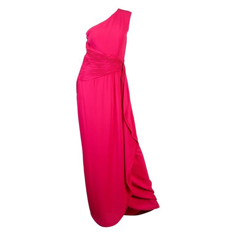 1970s Valentino for Bergdorfs Fucia Pink Gown