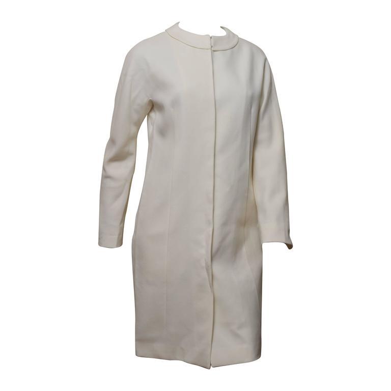 Jil Sander Cream Wool Coat