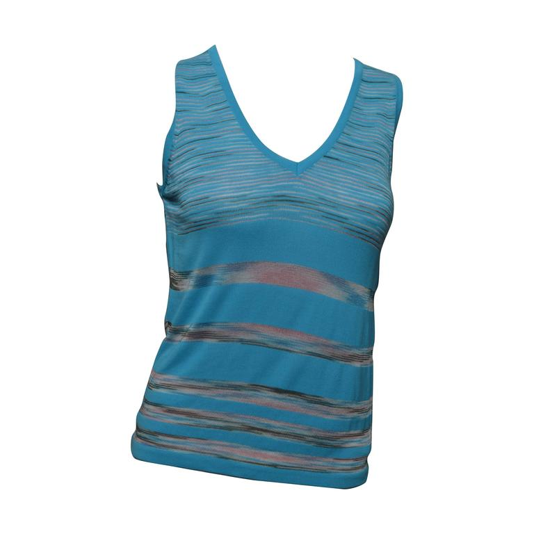 M Missoni Turquoise Sleeveless Top