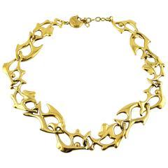 Yves Saint Laurent YSL Vintage Gold Toned Fish Necklace