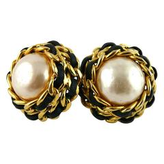 Chanel Vintage 1990 Massive Iconic Chain & Black Leather Pearl Clip-On Earrings