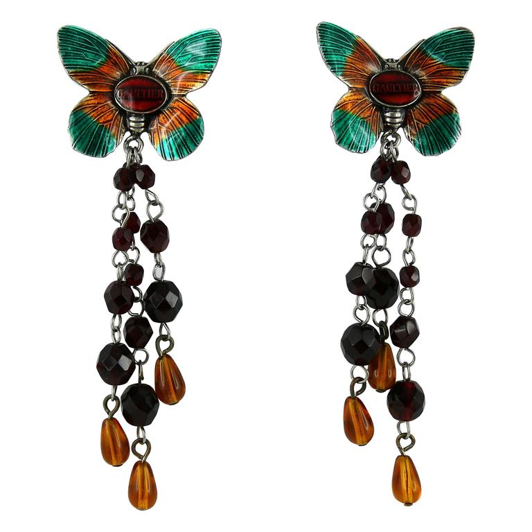 Jean Paul Gaultier Vintage Enamel Butterfly Dangling Earrings For Sale