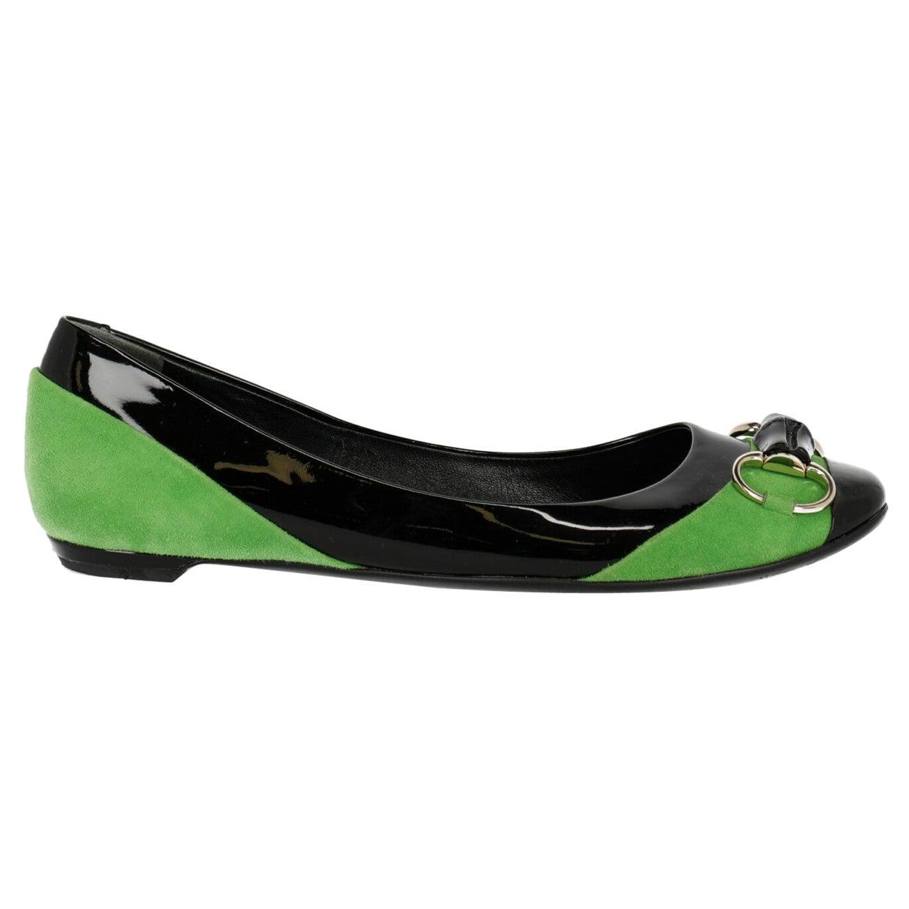 Gucci Woman Ballet flats Black, Green EU 38
