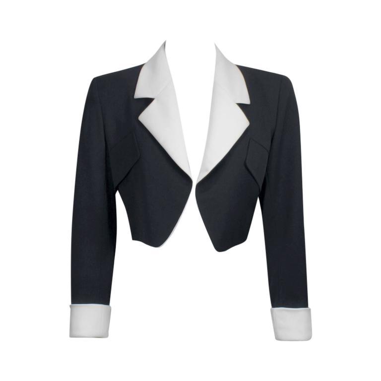 1980's Yves Saint Laurent Rive Gauche Black & White Silk Bolero Jacket 1