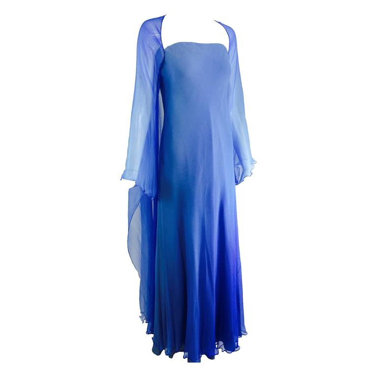 Fiandaca Cerulean Blue tonal silk chiffon gown 1990s For Sale