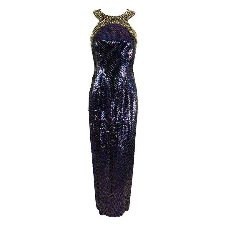 Oleg Cassini gold beaded halter neck iridescent sequin gown  1980s