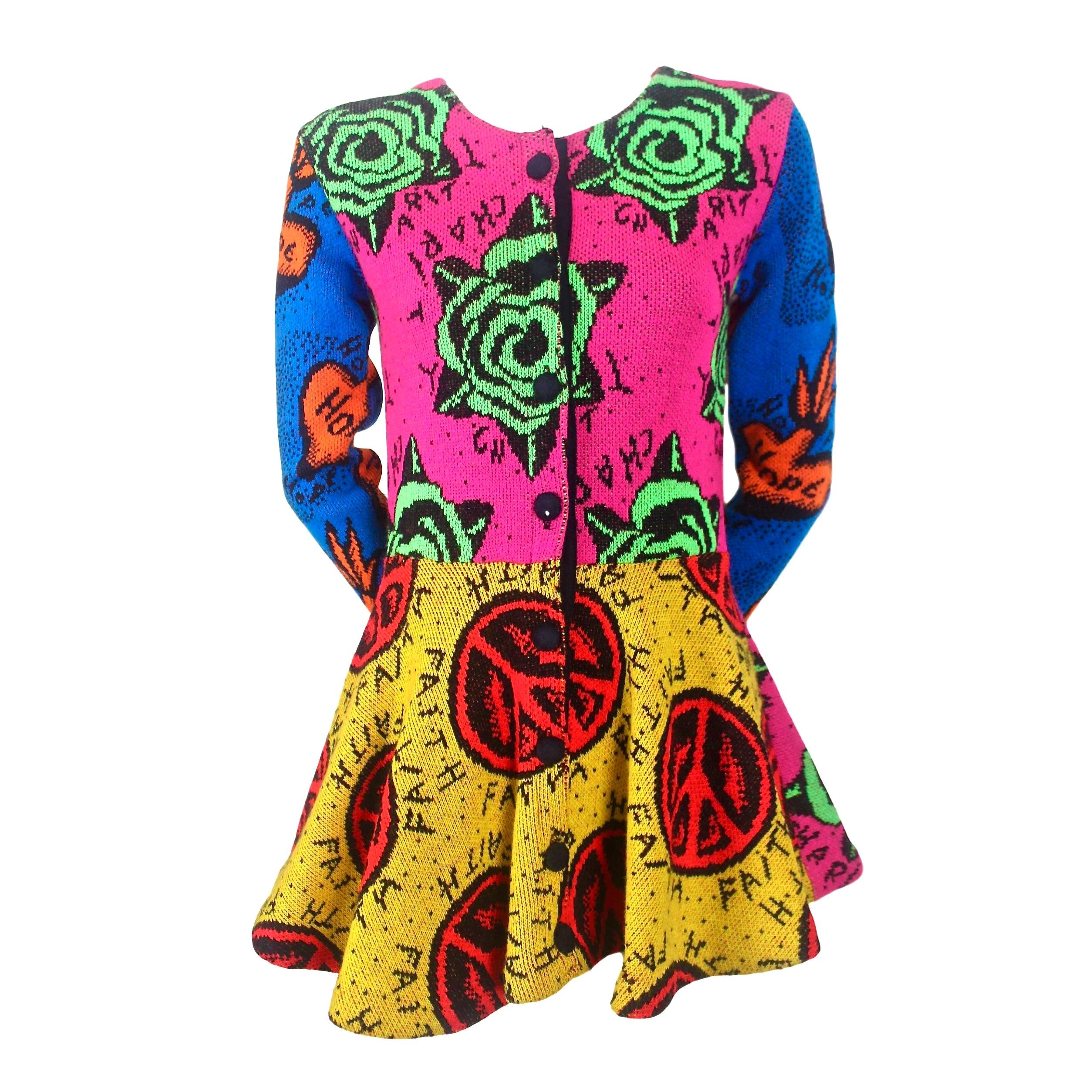 Original Betsey Johnson Colourful Peplum Knit Jacket Faith, Hope and Charity