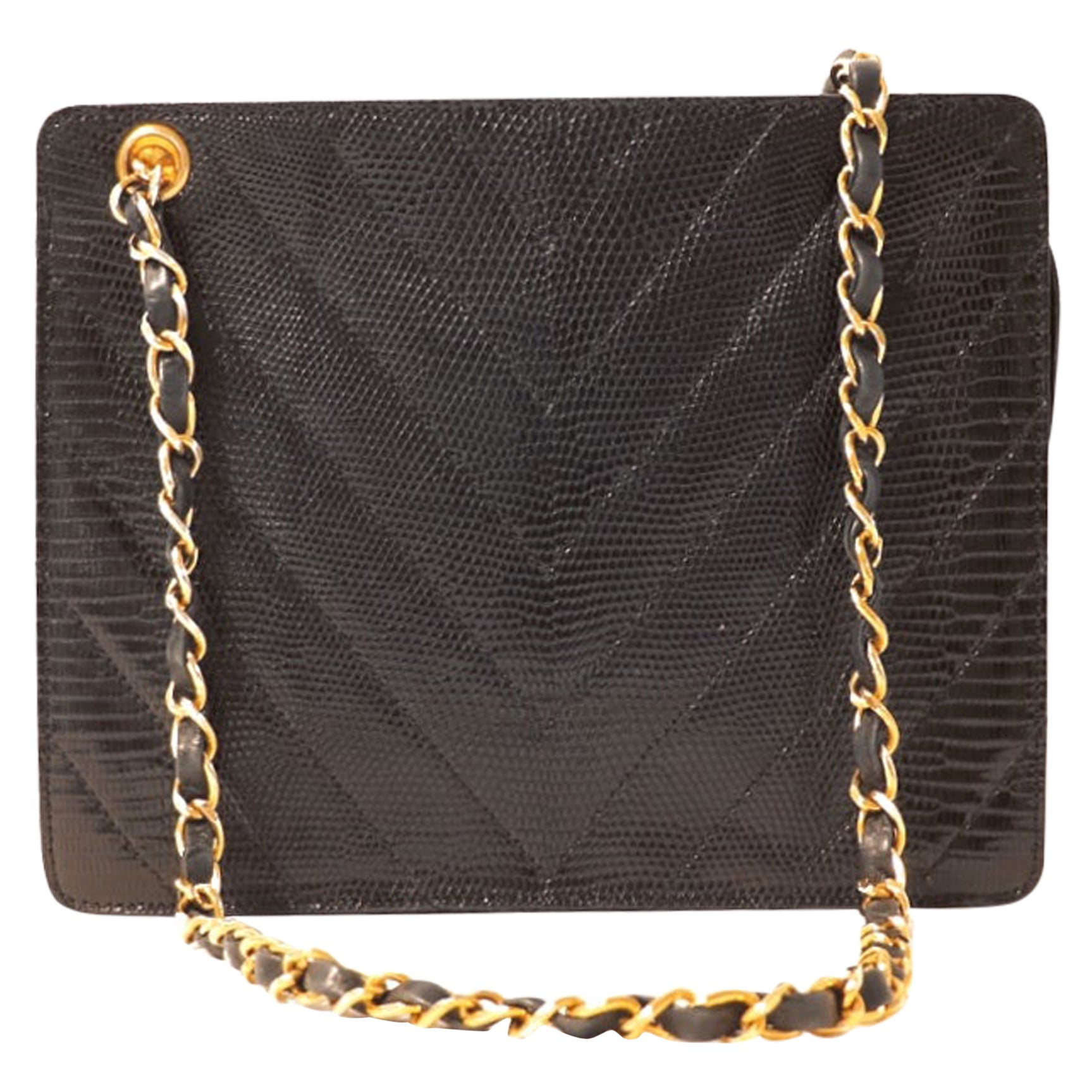 Chanel Black Lizard Chevron Vintage Bag