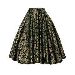 1950s Vintage Metallic Gold + Green Hand Screenprint Swing Skirt