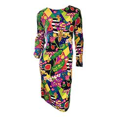 Vintage I. Magnin Silk Size 12 Dress w/ Multi Layered Psychedelic Jewel Prints