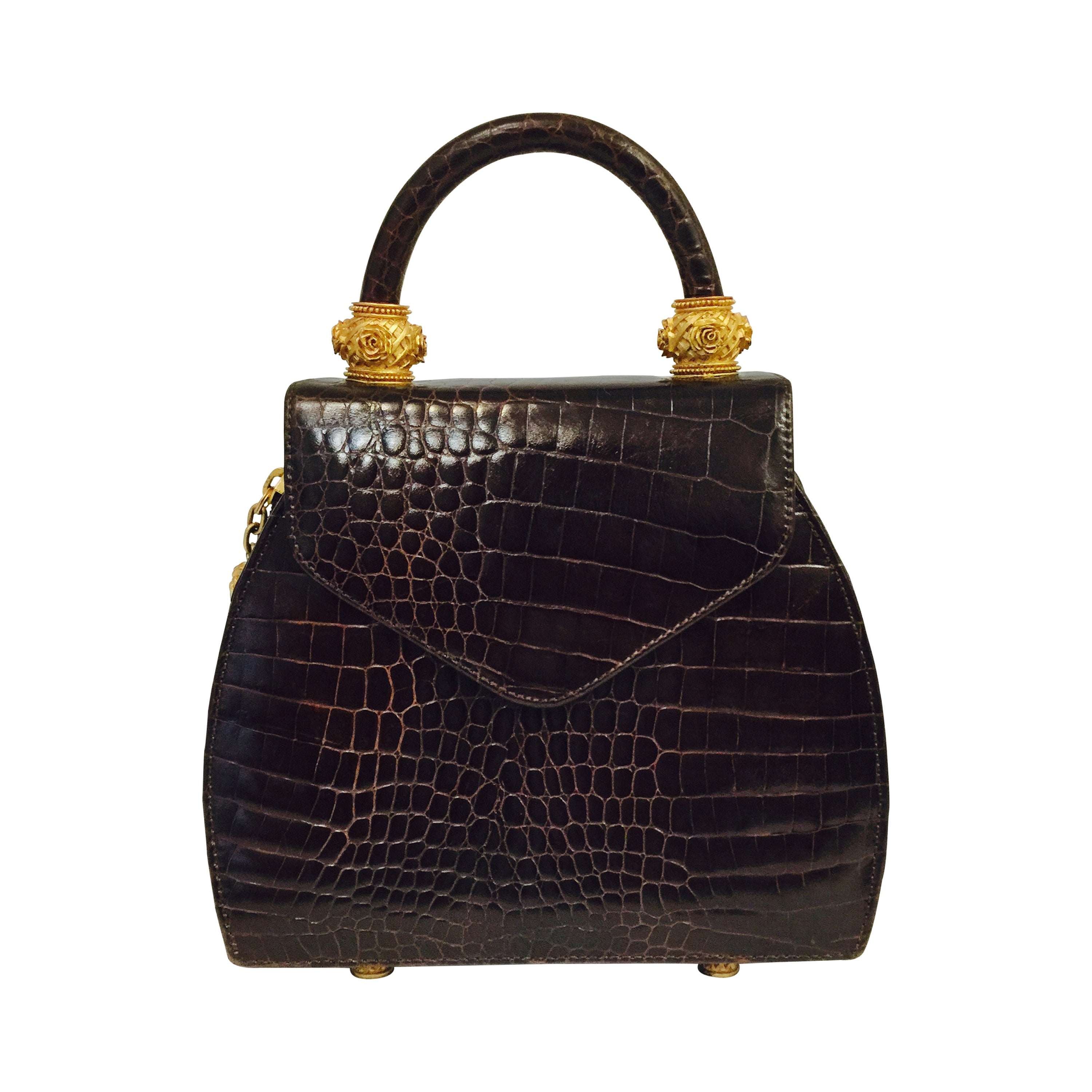 5547b0a63a12 Vincenza Crocodile Embossed Leather Bag at 1stdibs