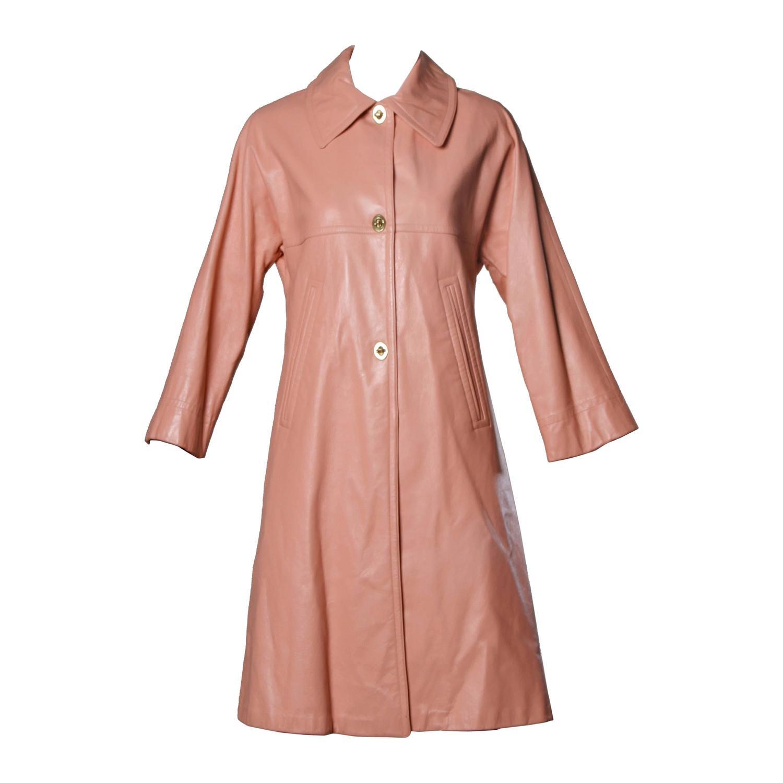 Bonnie Cashin 1960s Vintage Pink Leather Coat For Sale at 1stdibs