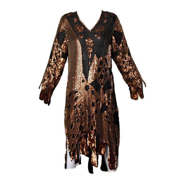Unworn Vintage Metallic Sequin + Beaded Silk Flapper Dress with Original Tags For Sale
