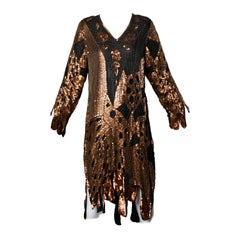 Unworn Vintage Metallic Sequin + Beaded Silk Flapper Dress with Original Tags