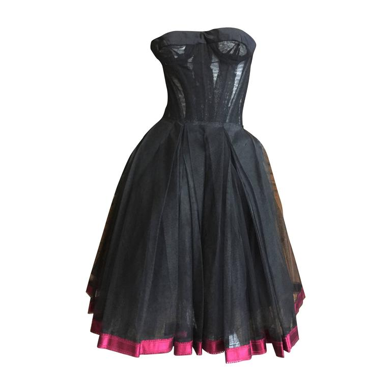 Christian DIor Attr A' 1954 Haute Couture Tulle Boned Bustier Under Dress 1