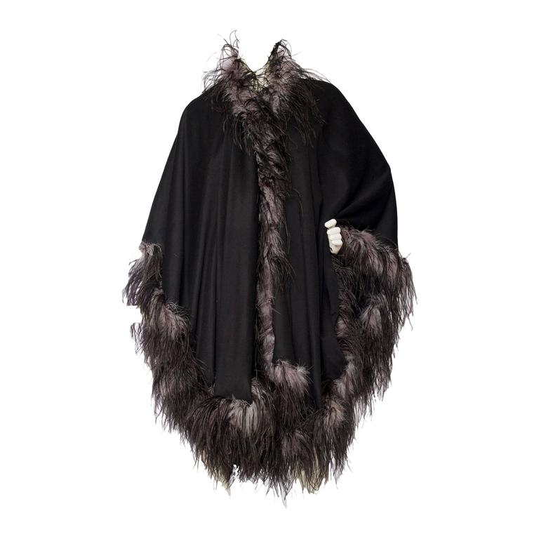 1980s Emmanuelle Khahn Black Wool & Ostrich Feather Cape 1