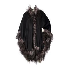 1980s Emmanuelle Khahn Black Wool & Ostrich Feather Cape