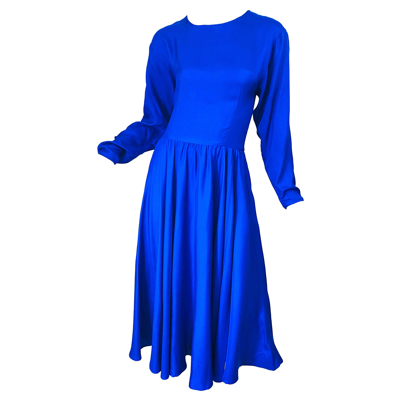 Vintage Dynasty Royal Blue Size 10 1970s Royal Bue Silk 70s Midi Dress