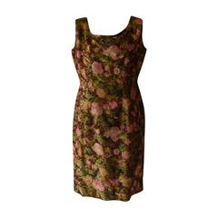 1960s Vera Mont Paris Brocade Floral Dress (44 Fr)