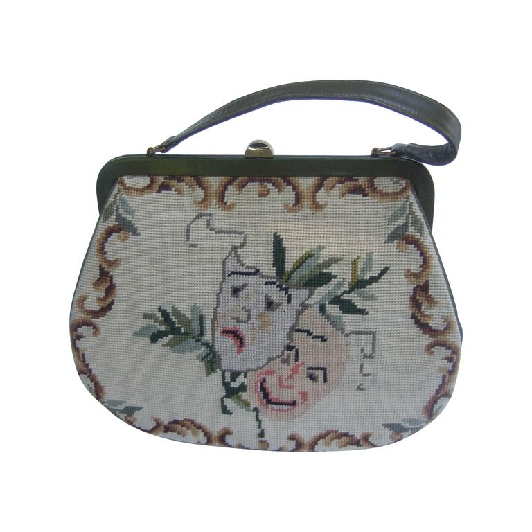 Unique Thespian Needlepoint Comedy and Tragedy Handbag c 1960