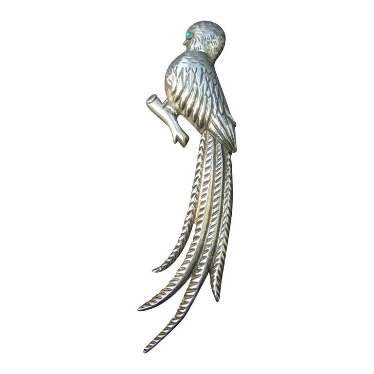 Massive Mexican Sterling Parrot Brooch c 1940s For Sale