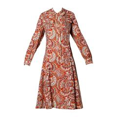 1970s Vintage Paisley Wool Coat Dress with Matching Belt